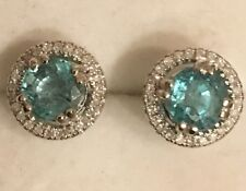 1.90CTW NATURAL EMERALD AND DIAMOND EARRINGS IN 10K WHITE GOLD
