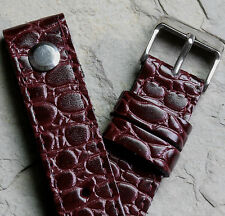 Oxblood Baby Alligator grain leather AVIATOR 18mm open ended watch band UK Made