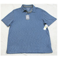 New Van Heusen Blue Polo Shirt Short Sleeve 3-Button Rayon Polyester Men's Mans
