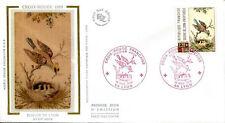 FRANCE FDC - 2612 1 CROIX ROUGE OISEAU - LYON 18 Novembre 1989 - LUXE sur soie