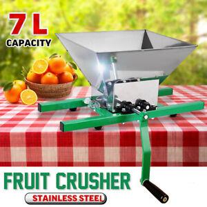 Stainless Steel 7L Fruit Crusher Pulper Masher Grinder Apple Juice Wine Cider US