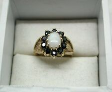 Lovely 9ct Gold Large Opal And Sapphire Dress Ring