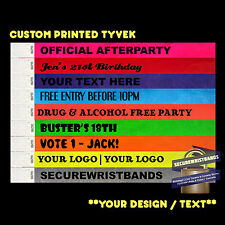 500 x Tyvek, Party, Event, ID CUSTOM  Wristbands *Your Text Here* 12 COLOURS