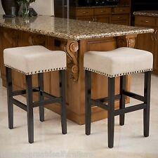 Set of 2 Contemporary Backless Beige Linen Fabric Bar Stools w/ Nailhead Accents