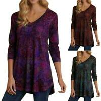 Womens Long Sleeve Tops T-Shirt Ladies Loose Floral Pullover Tunic Blouse Tee UK