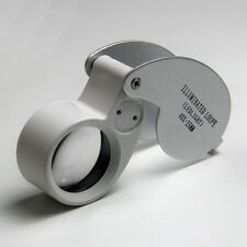 Double LED Lights 40x Magnifier Loupe Eye Glass Lens Pocket Size For Jeweler