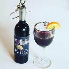 Unique MULLED WINE GLASS & BOTTLE EARRINGS festive CHRISTMAS miniature GLUWEIN