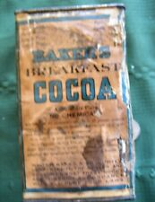 """1 lb. tin w/paper label """"WALTER BAKER'S BREAKFAST COCOA"""" Dorchester Mass. as is"""
