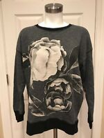 J. Crew Gray, Black & White Floral Crewneck Sweater Sweatshirt, Size Small