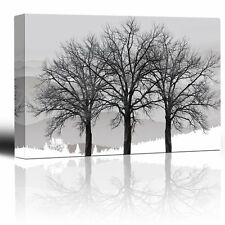 Trees in winter gray landscape- Eye-catching wall decor- Canvas Art - 24x36