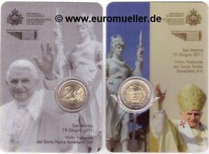San Marino 2 Euro Kursmünze 2011 Papstbesuch in Coincard