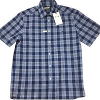RM Williams Mens Hervey Short Sleeve Blue Check Shirt Size S NEW