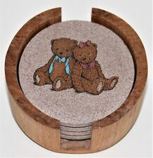 Thirstystone Coasters Set of 4 with Holder Bear Design Cork Base