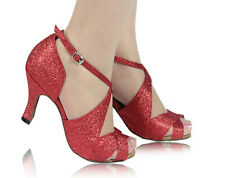 New Women Red Glitter Latin Salsa Ballroom Dance Shoes All Size 5-10