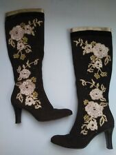 Cole Haan Womens Kyrene Brown Suede Floral Embroidered Tall Zip Up Boots Size 8b
