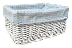 Wicker Storage/Baby Basket BLUE GINGHAM Lining-White- 30x22x15cm