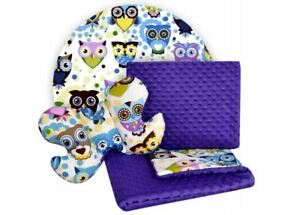 Baby Bedding Set For Cradles Baby Strollers 3 in 1 Blanket Pillow Purple Owls
