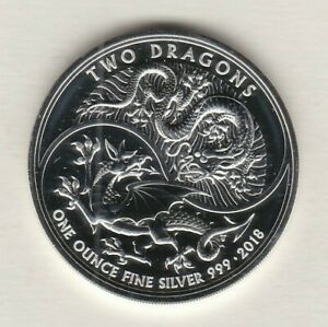 2018 TWO DRAGONS ONE OUNCE FINE SILVER £2 WITH A CAPSULE IN NEAR MINT CONDITION
