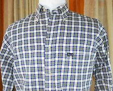 FACONNABLE Plaid Button-down Shirt - Men's L Large - Ivory Blue Yellow