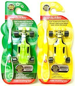 2 Ct Brush Buddies Kids Green & Yellow Ultra Soft Bristles Toothbrush & Race Car