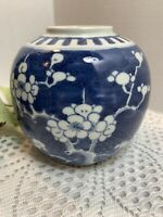 Antique Chinese Blue and White Prunus double ring Ginger Jar Kangxi Qing Dynasty