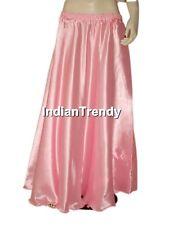 Yellow Satin Skirt Belly Dance Costume Gypsy Maxi Dress 4.5 Yard Half Circle