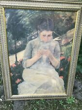 Hand Painted Portrait By Mary Cassat.Scene Of Mother Sewing In The Garden.