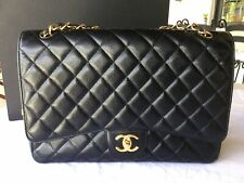 CHANEL Caviar Quilted Maxi Double Flap Black GHW-Pre Owned-Verified Authentic