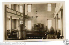 ABERDEEN N C Bethesda Church Interior View Pews Stove Oil Lamps Photo Postcard