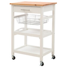 Wooden Kitchen Islands Storage Trolley Cart Metal Drawer Rack with Caster Wheel