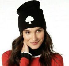 Kate Spade Women's Black White Spade Beanie Knit Hat NWT