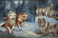 North American Wildlife 4 wolves wolf collage Kaufman fabric