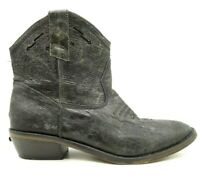 Steve Madden Black Leather Zip Up Western Style Ankle Boots Shoes Women's 7