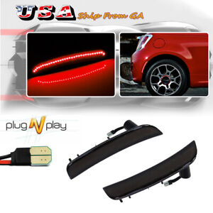 Smoked Rear Bumper Red LED Side Marker Lights For 2012-2017 Fiat 500 Pop Lounge
