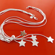 FSA925 GENUINE REAL 925 STERLING SILVER SF LADIES STAR PENDANT NECKLACE CHAIN