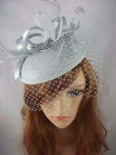 Silver Grey Felt Hat Fascinator With Satin Loop & Birdcage Veil - Wedding Races