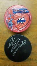 Kalamazoo Wings Hockey Pucks - Valentines Day 2010 & Black Sponsor Puck - #3A9