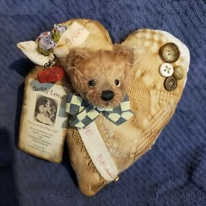 RIFFENBERG HEART PILLOW WITH TEDDY BEAR HEAD AWESOME BY J. MONROE NR