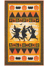 "Halloween Masquerade Witch Cat Orange Cotton Fabric Red Rooster ~ 24""X44"" PANEL"
