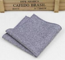 New Vintage Herringbone Slate grey Tweed Wool Pocket Square. Best Reviews 🇬🇧