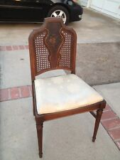 Antique French Country Cane Back Hand Painted Floral Design Side Chair