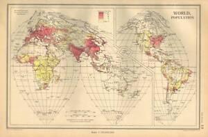 Antique Map 1947 Bartholomew World Population