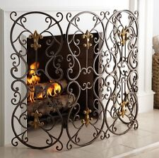 New HORCHOW French Fireplace Screen Fleur-de-Lis Firescreen Bronze Iron Gold
