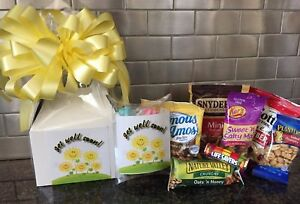 Get Well Soon Gift Box-Basket Wrapped WithYellow Bow-Card-Snacks-Candy