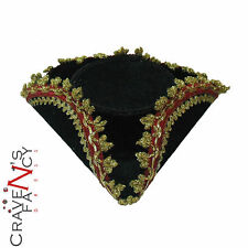 Pirata Mini Tricorn cappello Nero Oro Bordo Clip Capelli Donna Costume Accessorio