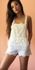 STONE COLD FOX Embroidered Floral Eyelet Bib Overalls Suspenders Shorts Romper M