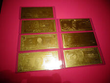 7* 24 Kt U.S.A Gold Bills. $1-$2-$5-$10-$20-$50-$100 +Each In Pvc Bill Holder
