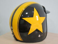 Vintage Vespa Motorcycle Scooter Black Yellow Star Glossy open face helmet