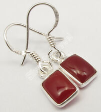 """Amazing CABOCHON CARNELIAN, 925 Sterling Silver FRENCH WIRE Earrings 1.1"""" NEW"""