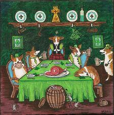 8x8 Print Of Painting Pembroke Welsh Corgi St Patricks Day Irish Folk Mice Pets
